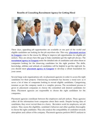 Benefits of Consulting Recruitment Agency for Getting Hired