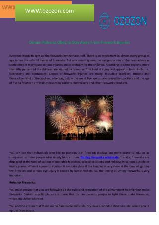 Certain Rules to Obey to Stay Away From Firework Injuries