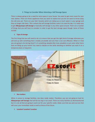 Things to Consider When Selecting a Self Storage Service