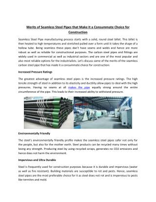 Merits of Seamless Steel Pipes that Make It a Consummate Choice for Construction
