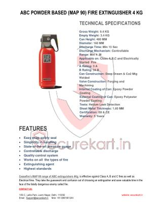 Ceasefire - ABC Powder (MAP-90) Based Fire Extinguisher - 4 Kg Features