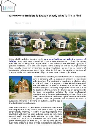 New Home builders of the finest quality could erect a home of your dreams