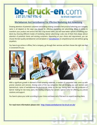 Werbebanner And Ger�stbanner For Effective Marketing And Advertising