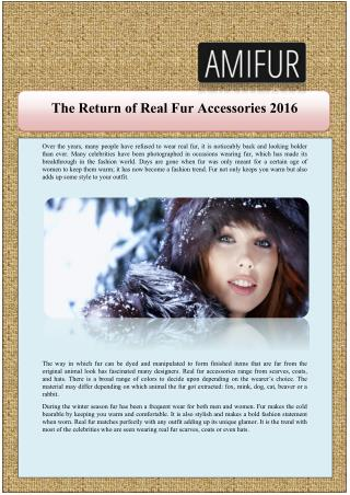 The Return of Real Fur Accessories 2016