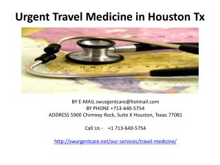 Urgent Travel Medicine in Houston Tx