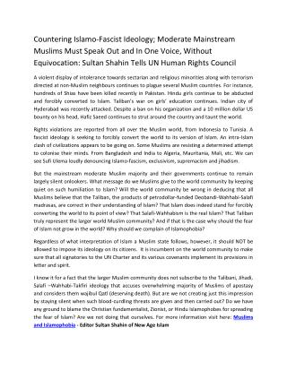 Countering Islamo-Fascist Ideology; Moderate Mainstream Muslims Must Speak Out and In One Voice, Without Equivocation