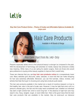 Buy Hair Care Product Online At Lelyo.com