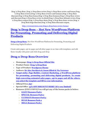 Drag �n Drop Boss Review and (FREE) Drag �n Drop Boss $24,700 Bonus