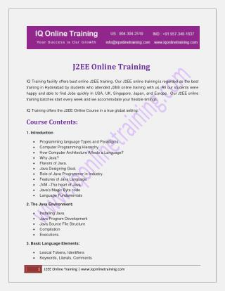 Instructor-led live online J2EE ONLINE TRAINING with 24x7 on demand support