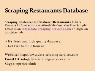 Scraping restaurants database