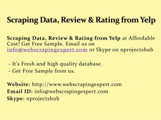 Scraping Data, Review & Rating from Yelp
