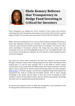 Ebele Kemery Believes that Transparency in Hedge Fund Investing is Critical for Investors