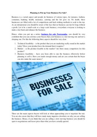 Planning to Put up Your Business For Sale?