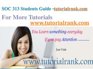 SOC 313 Course Success Begins/tutorialrank.com