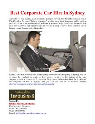 Best Corporate Car Hire in Sydney