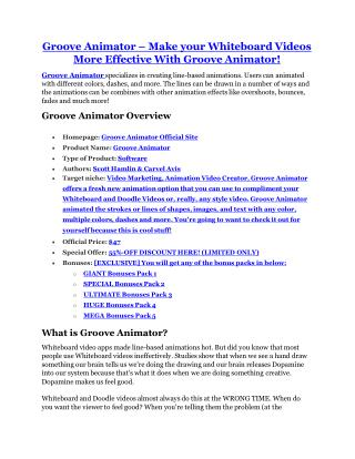 Groove Animator Review-(FREE) $32,000 Bonus & Discount