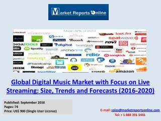 New Report Study on Global Digital Music Market Trends & Forecasts 2016-2020