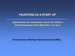 PALESTINE AS A START-UP