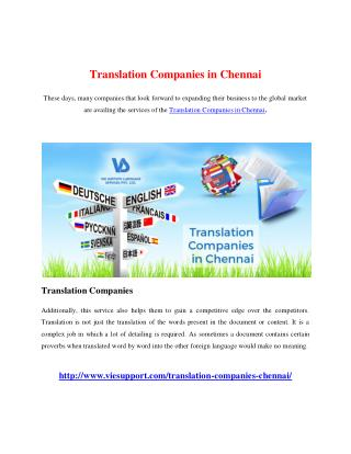 Translation Companies in Chennai