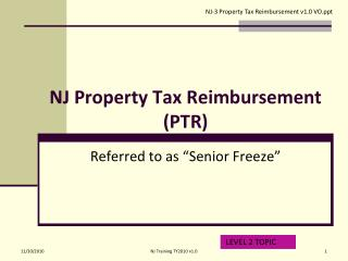 NJ Property Tax Reimbursement PTR