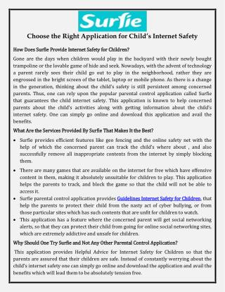 Choose the Right Application for Child's Internet Safety