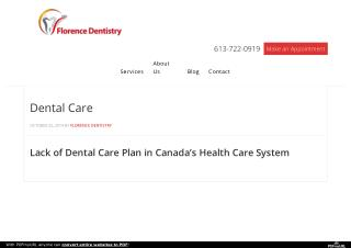 Dental Care Plan With Florence Dentistry