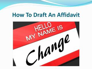 How To Draft An Affidavit