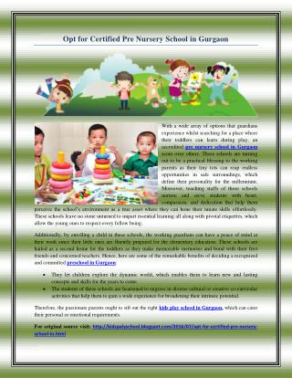 Opt for Certified Pre Nursery School in Gurgaon