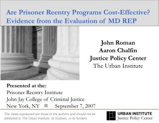 Are Prisoner Reentry Programs Cost-Effective Evidence from the Evaluation of MD REP
