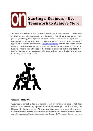 Oleksiy Nesterenko - Use Teamwork to Achieve More