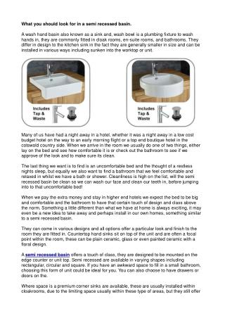 What you should look for in a semi recessed basin.