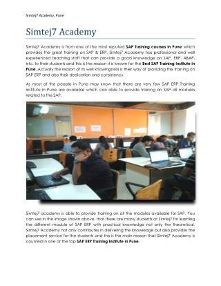 Best SAP Training Institute in Pune