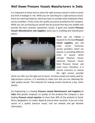Well Known Pressure Vessels Manufacturers in India