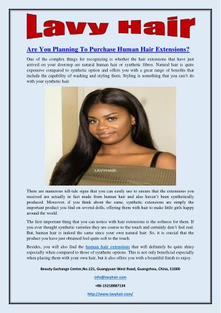 Are You Planning To Purchase Human Hair Extensions?