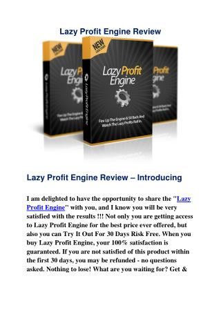 Lazy Profit Engine Review