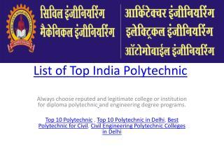 List of Top India Polytechnic