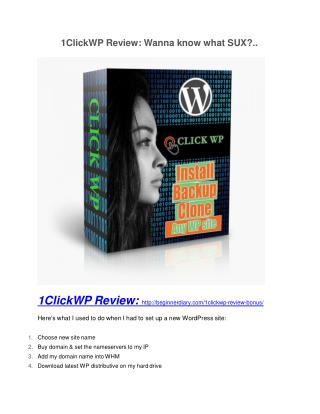 1ClickWP review & 1ClickWP (Free) $26,700 bonuses