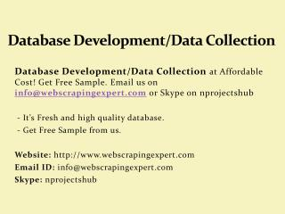 Database Development/Data Collection