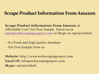 Scrape Product Information From Amazon