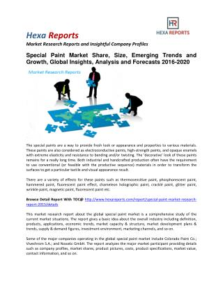 Special Paint Market Share, Size, Analysis and Forecasts 2016-2020