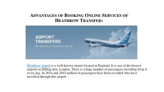 Advantages of Booking Online Services of Heathrow Transfers