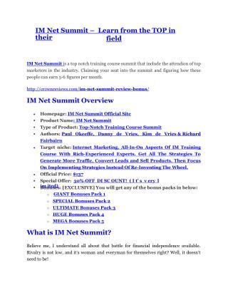 IM Net Summit review - IM Net Summit sneak peek features