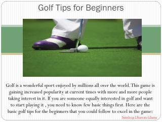 Sundeep Dhawan-Basic Golf Tips For Beginners