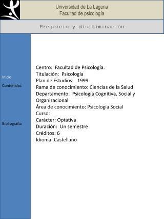 Universidad de La Laguna Facultad de psicolog a