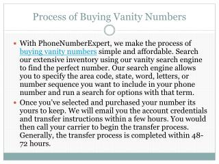 Process of Buying Vanity Numbers