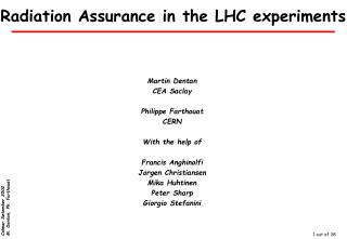 Radiation Assurance in the LHC experiments