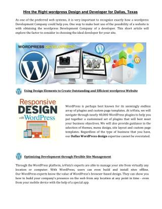 Hire the Right wordpress Design and Developer for Dallas, Texas