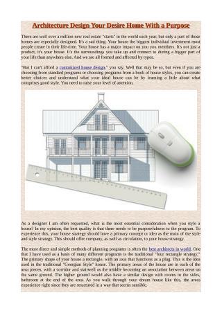 Architecture Design Your Desire Home With a Purpose