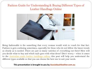 Fashion Guide for Understanding & Buying Different Types of Leather Handbags Online