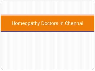 Homeopathy Doctors in Chennai